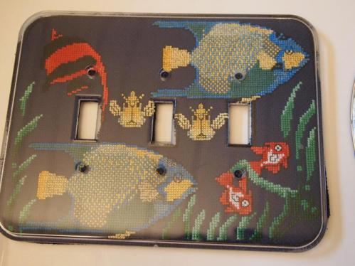 cross stitched triple light plate cover