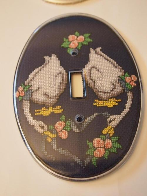 cross stitched geese light plate cover