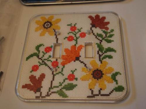 cross stitched double light plate cover