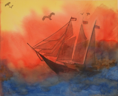 Sailing ship watercolor painting