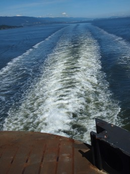 Wake from the ferry